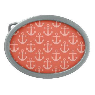 Anclas náuticas en el modelo bonito rosado hebilla de cinturon oval