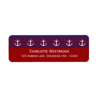 Anclas náuticas en la raya clásica personalizada etiqueta de remitente