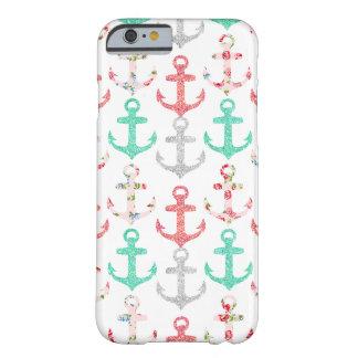 Anclas náuticas florales del falso brillo femenino funda de iPhone 6 barely there