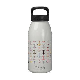 Anclas náuticas florales femeninas del marinero re botellas de agua reutilizables