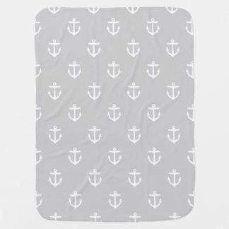 Anclas náuticas grises y blancas mantas de bebé