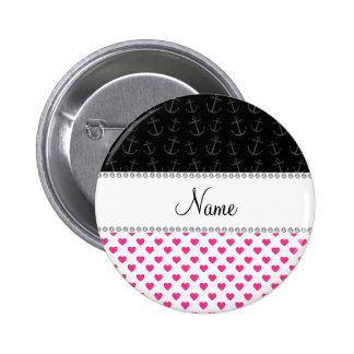 Anclas negras personalizadas de los corazones rosa pin