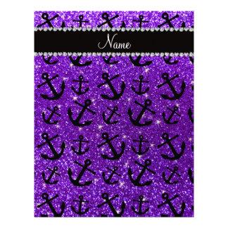 Anclas púrpuras personalizadas del brillo del añil plantilla de membrete