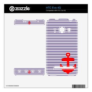 Anclas rojas con las rayas del bretón de los azule calcomanías para el HTC evo 4G
