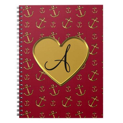 Anclas rojas del oro de Borgoña del monograma Notebook