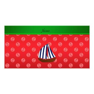 Anclas rojas personalizadas del punto del velero tarjeta fotografica personalizada