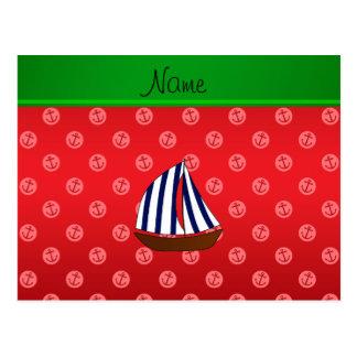 Anclas rojas personalizadas del punto del velero tarjetas postales