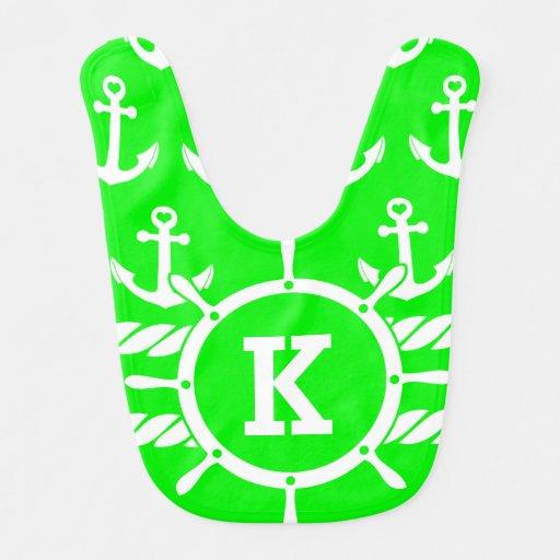Anclas verdes de neón personalizadas monograma náu baberos de bebé