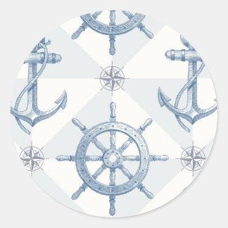 Anclas y modelo de la rueda de la nave pegatina redonda