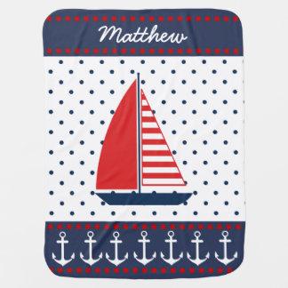 Anclas y velero náuticos manta de bebé