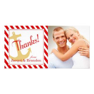 Ancle en blanco rojo de las rayas el | tarjeta fotografica personalizada