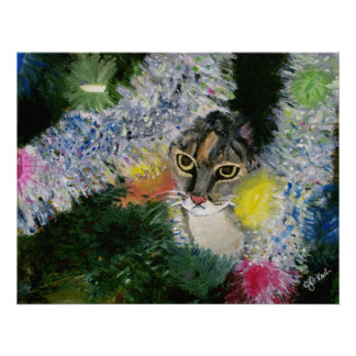 And a Cat in A Christmas Tree Poster