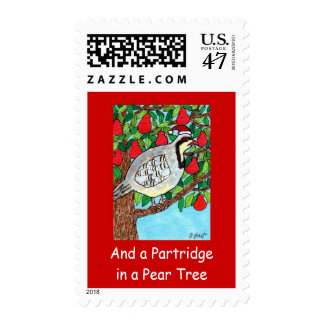 And a Partridge in A Pear Tree Folk Art Holiday Postage