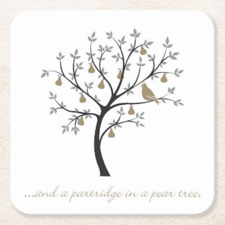 And a partridge in a pear tree square paper coaster