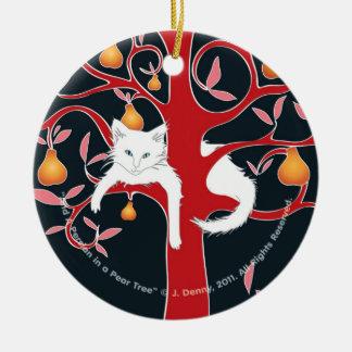 And a Persian in a Pear Tree (tree ornament) Ceramic Ornament