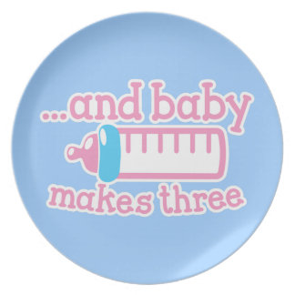 ... and baby makes three melamine plate
