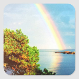 And God Set A Rainbow In The Sky Photo Design Square Sticker