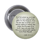 """And He looked up, and saw the rich men..."" Pinback Buttons"