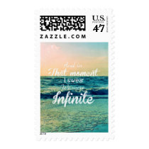 infinite, quote, beach, inspire, art, and in that moment, i swear we were infinite, freedom, typography, dream, sea, word, young, quotations, text, inspirational, unique, illustrations, Stamp with custom graphic design