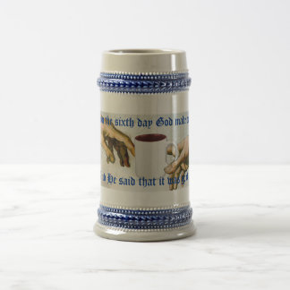 And on the sixth day God made coffee Beer Stein