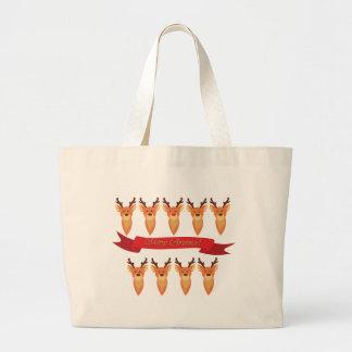 and Santa's Reindeer Large Tote Bag