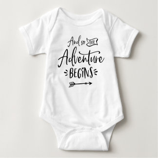 And So The Adventure Begins Hand Lettered Custom Baby Bodysuit