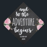 "And So The Adventure Begins Handwritten Script Graduation Cap Topper<br><div class=""desc"">And So The Adventure Begins Handwritten Script</div>"