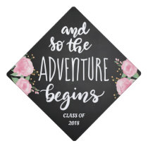 And So The Adventure Begins Handwritten Script Graduation Cap Topper