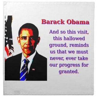 And So This Visit - Barack Obama Cloth Napkin