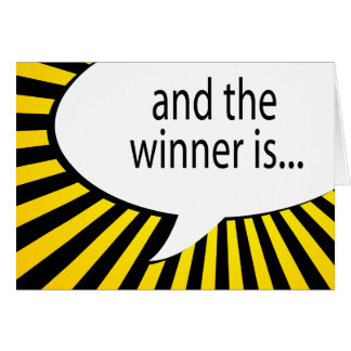and the winner is! comic speech bubble card