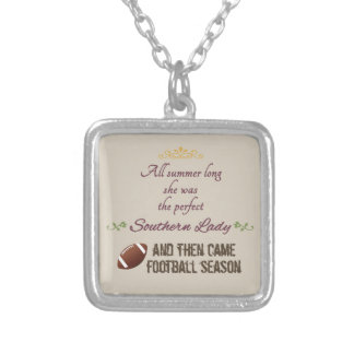 ...And Then Came Football Season Silver Plated Necklace