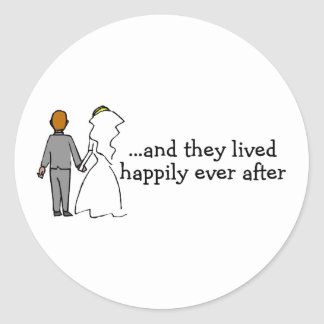 And They Lived Happily Ever After Bride and Groom Classic Round Sticker