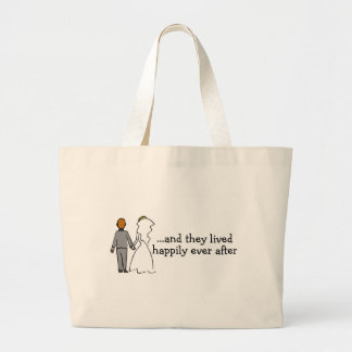 And They Lived Happily Ever After Bride and Groom Large Tote Bag