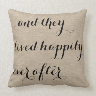 And they lived happily ever after burlap rustic ch throw pillow