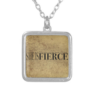 And though she be but little, she is fierce. square pendant necklace