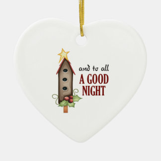 AND TO ALL A GOOD NIGHT Double-Sided HEART CERAMIC CHRISTMAS ORNAMENT