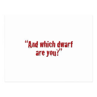 """""""And which dwarf are you?"""" Postcard"""
