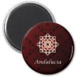 Andalucía arte de azulejo y cerámica marroquí en imán redondo 5 cm