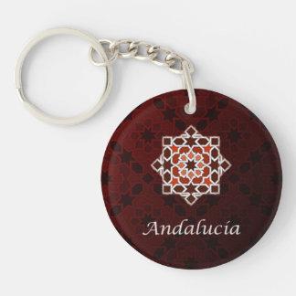 Andalucía arte de azulejo y cerámica marroquí en llavero redondo acrílico a doble cara