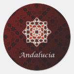 Andalucía arte de azulejo y cerámica marroquí en pegatina redonda
