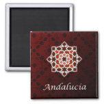 Andalucía en el azulejo de geometría de mosaico imán cuadrado