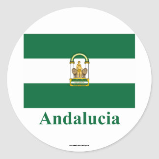Andalucía flag with name classic round sticker