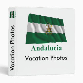 Andalucía waving flag with name 3 ring binder