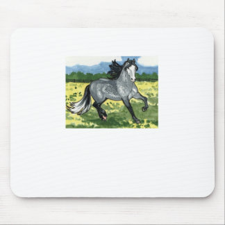 Andalusian Dapple Grey Horse Art Mouse Pads