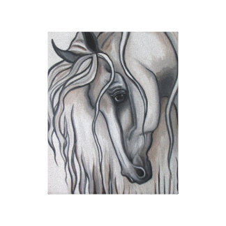 Andalusian Horse Black and White Design Gallery Wrapped Canvas