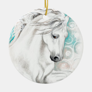 Andalusian Horse Blue Ceramic Ornament