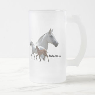 Andalusian Horse Frosted Glass Beer Mug