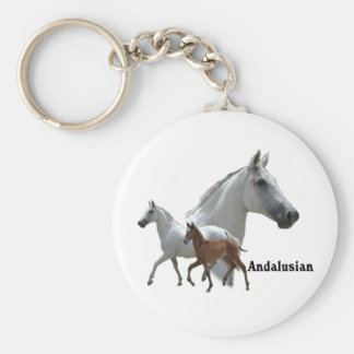Andalusian Horse Basic Round Button Keychain