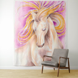 Andalusian Horse Purple Violet Watercolor Art Tapestry