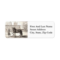 Andalusian Horse Vintage Drawing Art Label